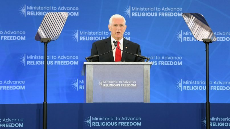 Vice President Mike Pence addresses delegates at the Ministerial to Advance Religious Freedom at the U.S. Department of State in Washington, D.C., on July 18, 2019. Photo by Ralph Alswang/ State Department/Public Domain
