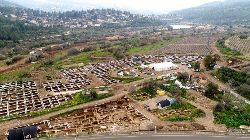 The huge settlement from the Neolithic Period that was discovered in the archaeological excavations by the Israel Antiquities Authority in Motza, Israel. Photo by Eyal Marco, Israel Antiquities Authority