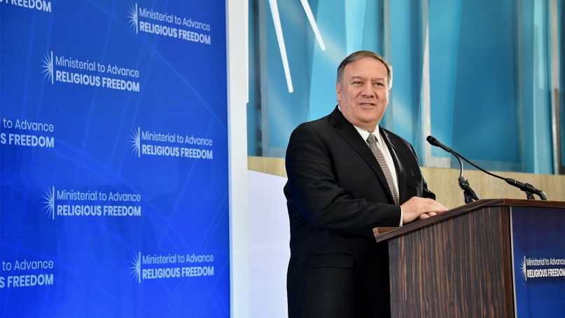 U.S. Secretary of State Mike Pompeo delivers remarks at the Ministerial to Advance Religious Freedom at the U.S. Department of State in Washington, D.C., on July 18, 2019. Photo by Michael Gross/State Department/Public Domain