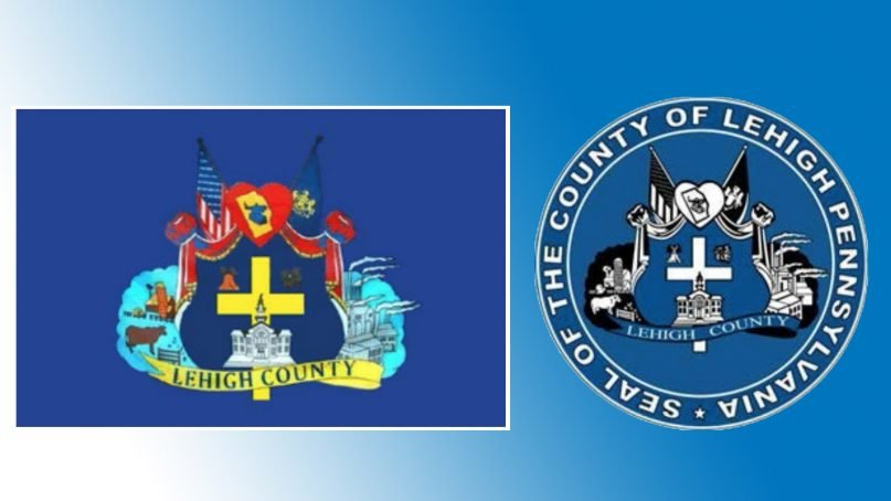 The flag and seal of Lehigh County, Pa. Images via court documents