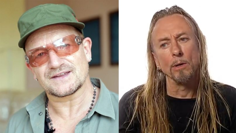 Musician Bono, left, and artist Guggi grew up together in Ireland. Video screenshots