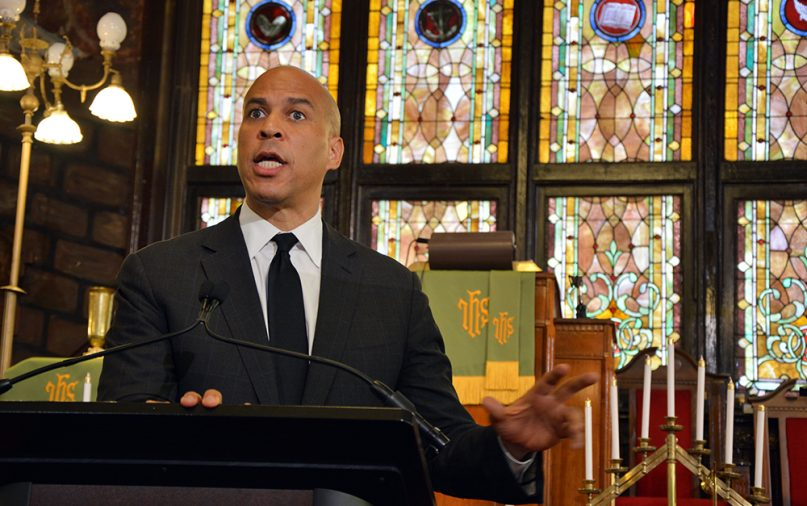 Democratic presidential cadidate Sen. Cory Booker delivers a speech on gun violence and racism at Mother Emanuel AME church in Charleston, S.C., on Aug. 7, 2019. RNS photo by Jack Jenkins