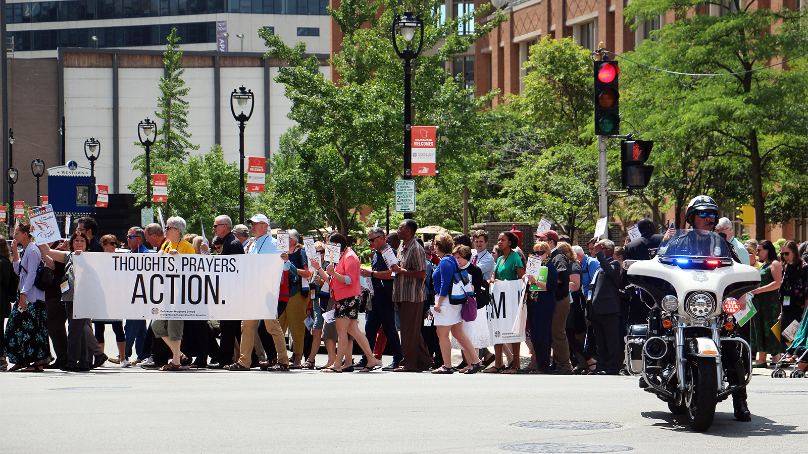 ELCA declares self a 'sanctuary church body,' marches to ICE building in Milwaukee - Religion News Service