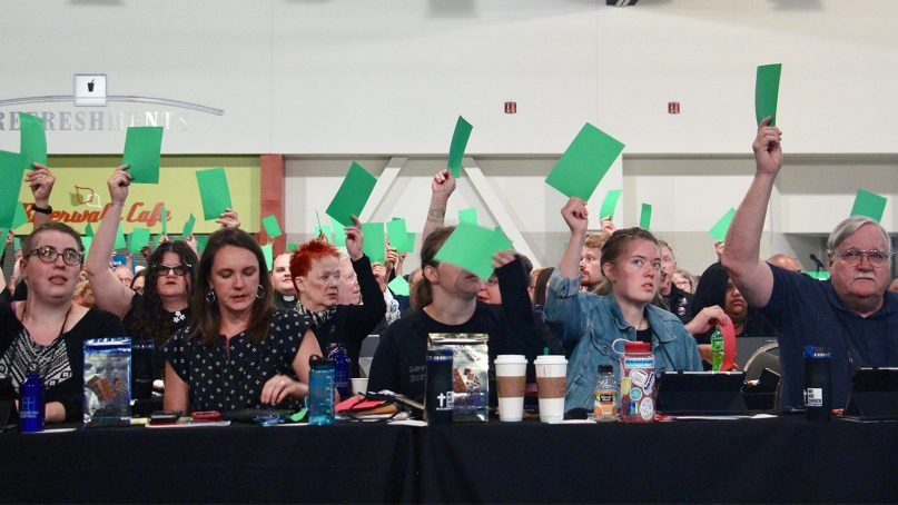 Votes are cast during the ELCA Churchwide Assembly in Milwaukee, Wis., on Aug. 8, 2019. RNS photo by Emily McFarlan Miller