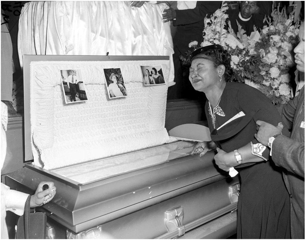 Mamie Till-Mobley weeps at her son's funeral on Sept. 6, 1955, in Chicago. (Chicago Sun-Times/AP Photo)