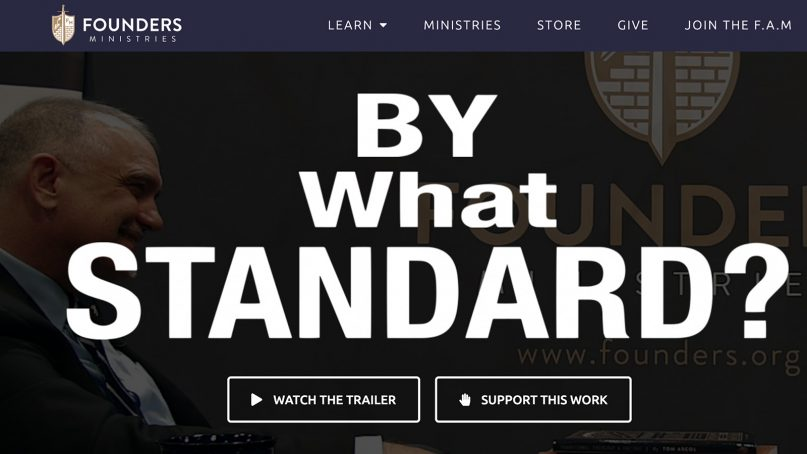 """The """"By What Standard?"""" trailer on the Founders Ministries website. Screenshot"""