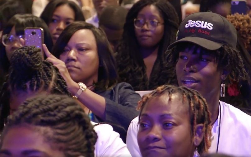 Attendees listen to presidential candidates during the Young Leaders Conference on Aug. 17, 2019, in Atlanta. Video screengrab