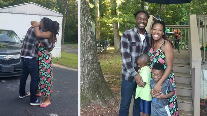 A West African man is reunited with his family after being detained in Georgia for five months. He was released with funds provided by Muslims for Migrants. Photo courtesy of Muslims for Migrants