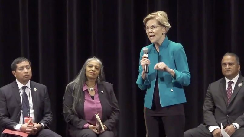 Sen. Elizabeth Warren participates in the Frank LaMere Native American Presidential Forum at the Orpheum Theater in Sioux City, Iowa, on Aug. 19, 2019.  Video screengrab