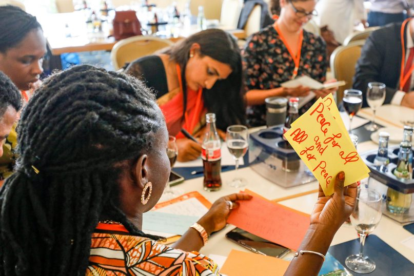 People participate in the Youth Pre-Assembly of Religions for Peace World Assembly on Aug. 19, 2019, in Lindau, Germany. Photo by Christian Flemming/Religions for Peace
