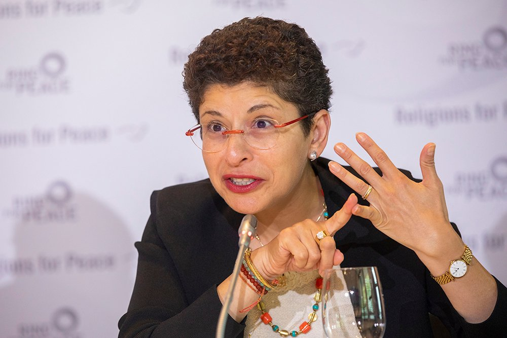 The new Secretary-General of Religions for Peace, Dr. Azza Karam, on Aug. 23, 2019. Photo by Christian Thiel/Religions for Peace