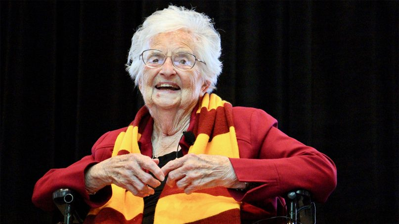 Sister Jean Dolores Schmidt attends her 100th birthday celebration at Loyola University on Aug. 21, 2019, in Chicago. RNS photo by Emily McFarlan Miller