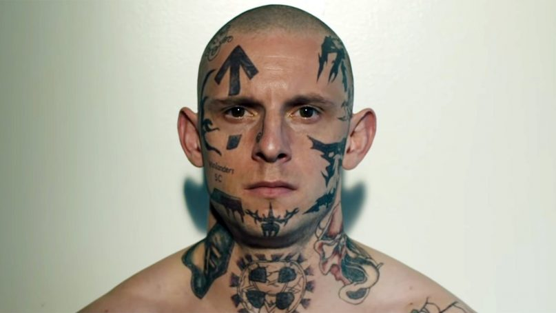 """Jamie Bell stars in """"Skin,"""" directed by Guy Nattiv. Photo courtesy of A24"""