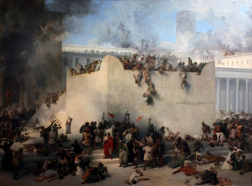 """""""The Destruction of the Temple of Jerusalem"""" painted by Francesco Hayez in 1867, depicting the Romans destoying the Second Temple in 70 CE. Image courtesy of Creative Commons"""