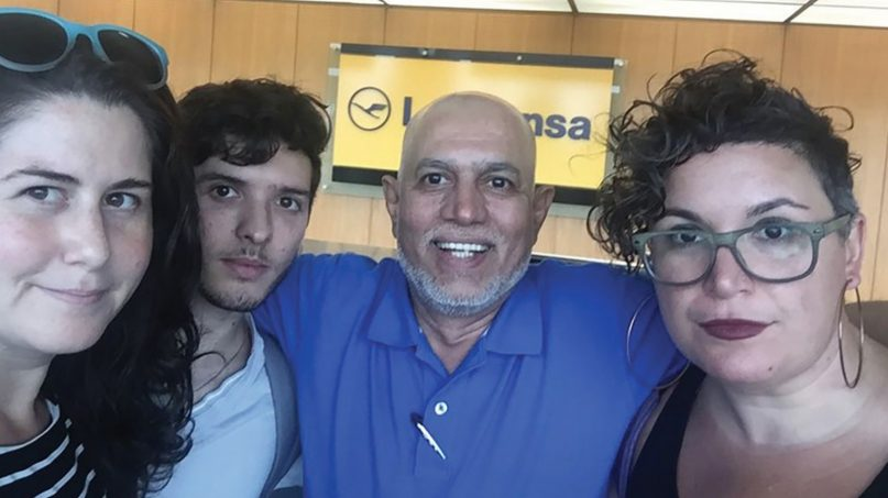 BDS activists Alana Krivo-Kaufman, from left, Noah Habeeb, Shakeel Syed and Rabbi Alissa Wise were banned from boarding a flight to Israel. Photo courtesy of JVP