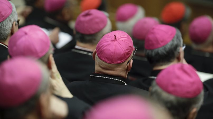 Bishops listen as Pope Francis delivers his speech during a meeting of the Italian Bishops Conference, at the Vatican, Monday, May 20, 2019. (AP Photo/Andrew Medichini)