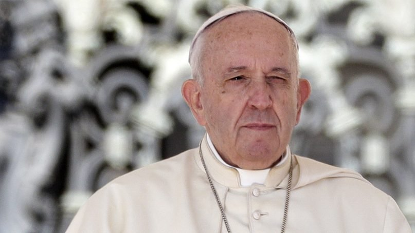 Pope Francis prays during his weekly general audience, at the Vatican, on Sept. 11, 2019. (AP Photo/Andrew Medichini)