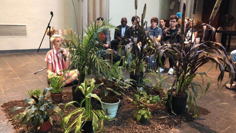 A service at Union Theological Seminary involving plants. Photo via @UnionSeminary/Twitter