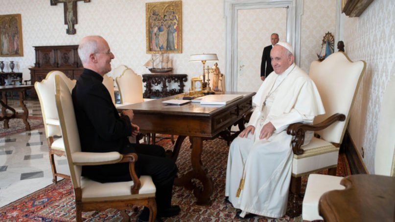 The Rev. James Martin, left, author and editor at large of America magazine, has a private audience with Pope Francis on Sept. 30, 2019. Photo © Vatican Media