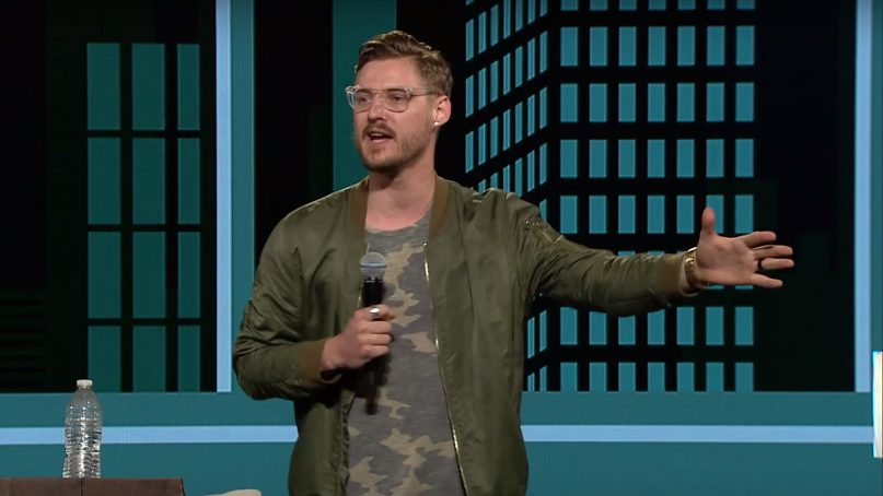 Jarrid Wilson preaches at at Harvest Christian Fellowship. Wilson died by suicide in Sept. 2019. Video screengrab