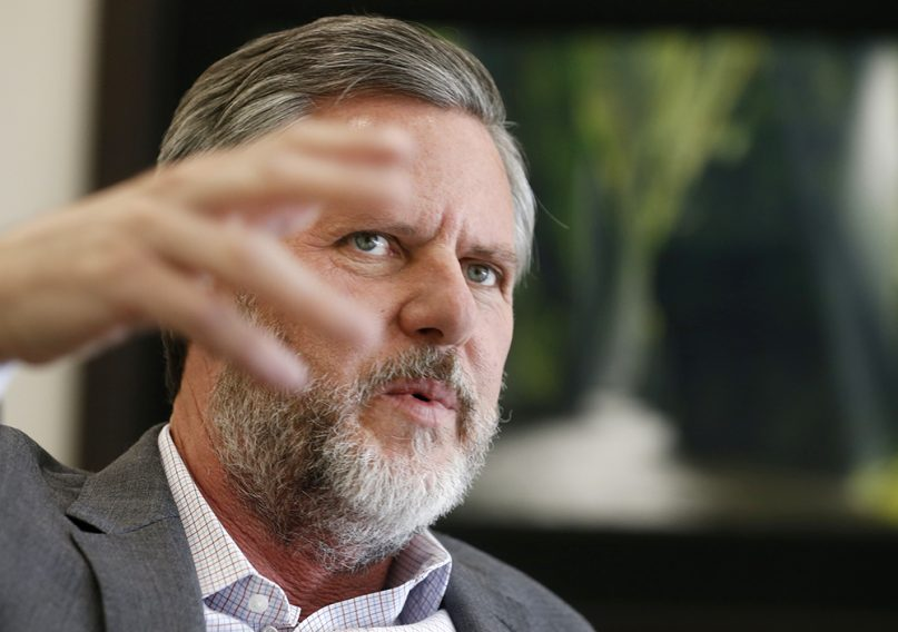 Liberty University President Jerry Falwell Jr. gestures during an interview in his offices at the school in Lynchburg, Virginia, on Nov. 16, 2016. (AP Photo/Steve Helber)
