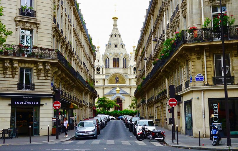 The Alexander Nevsky Cathedral of the Archdiocese of Russian Orthodox Churches in Western Europe in the rue Daru in the 8th arrondissement of Paris. RNS photo by Tom Heneghan