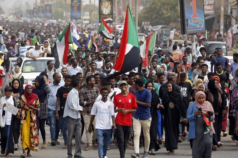 Sudanese protestors march during a demonstration in the capital Khartoum, Sudan, Thursday, Aug. 1, 2019. Sudanese pro-democracy activists have posted videos on social media showing thousands of people taking to the streets in the capital, Khartoum. The Sudanese Professionals Association said Thursday that the rallies are demanding justice for the killing of at least six people, including four students, earlier this week during student protests in a central province. (AP Photo)