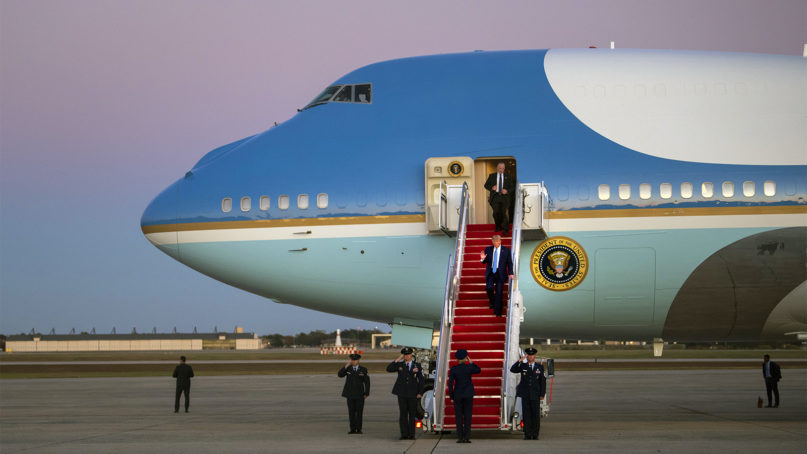 President Donald Trump arrives on Air Force One at Andrews Air Force Base, Md., following a trip to Pittsburgh on Wednesday, Oct. 23, 2019. (AP Photo/Kevin Wolf)