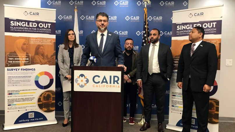 Hussam Ayloush, executive director for CAIR-LA, speaks about the findings in a new report on Islamophobia on Oct. 16, 2019, in Los Angeles. RNS photo by Alejandra Molina