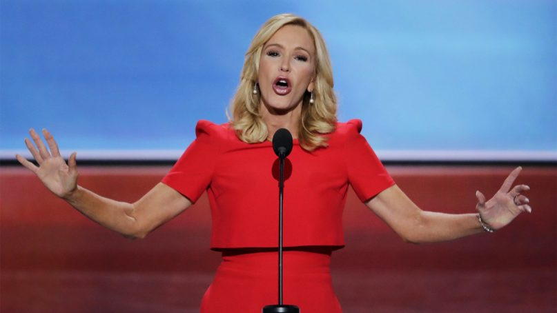 Pastor Paula White delivers the benediction at the close of the opening day of the Republican National Convention in Cleveland, Monday, July 18, 2016. (AP Photo/J. Scott Applewhite)