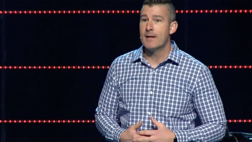 Pastor Andy Savage addresses Highpoint Church during a Sunday service in Memphis, Tenn. Photo courtesy of Highpoint Church via YouTube