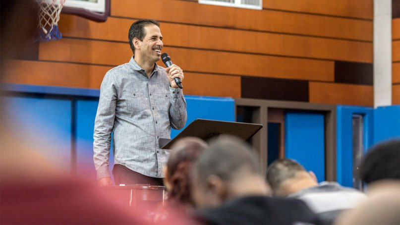 Pastor Fernando Cabrera leads a Sunday morning service at New Life Bronx Church in New York. Courtesy photo by Jonathan Mesiner