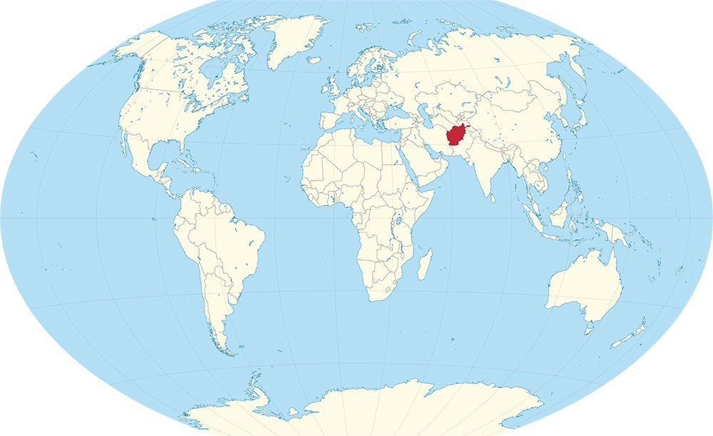 Afghanistan, red, located in western Asia. Image courtesy of Creative Commons