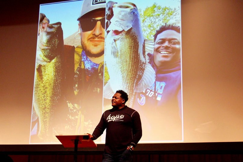 Derwin Gray talks about the late Jarrid Wilson during the GC2 Summit at Wheaton College, Friday, Dec. 6, 2019. RNS photo by Emily McFarlan Miler