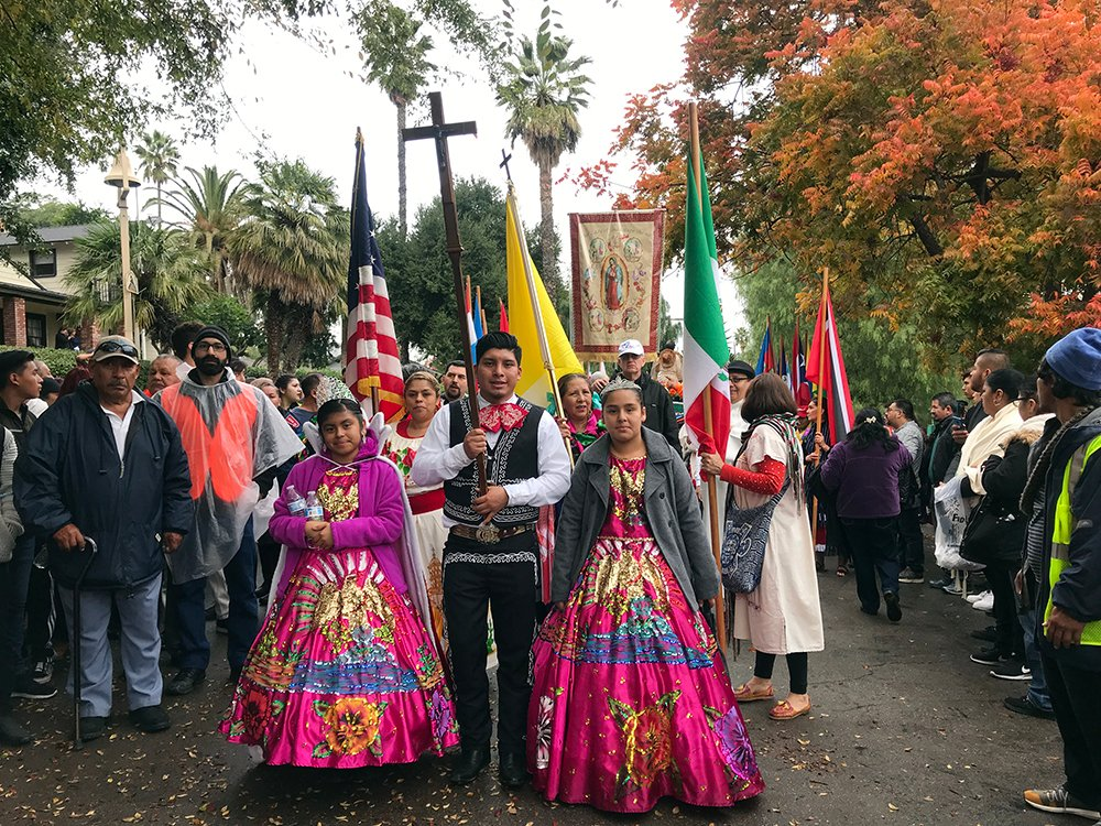 People participate in an annual procession ahead of the Feast Day of Our Lady of Guadalupe in Riverside, California, Dec. 7, 2019. RNS photo by Alejandra Molina