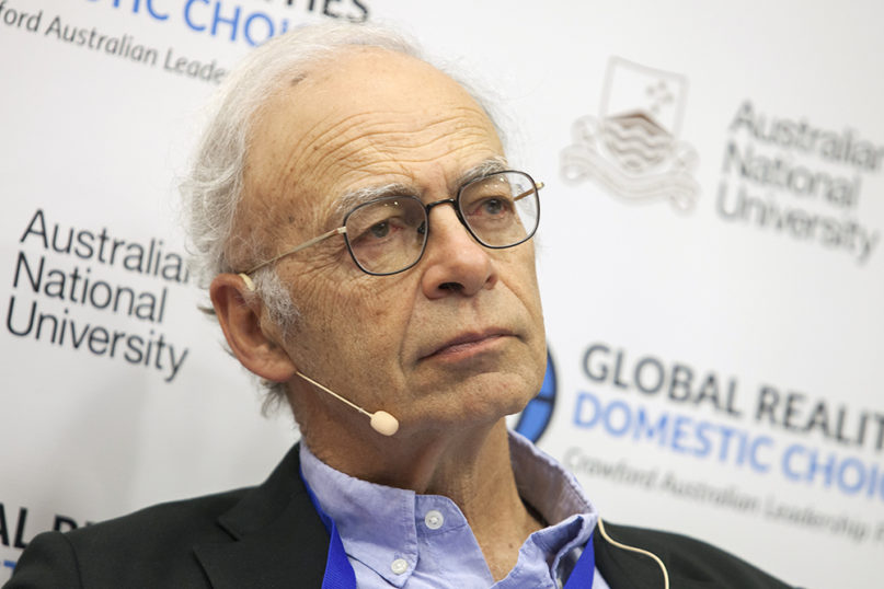 Peter Singer at the Crawford Forum in June 2017. Photo courtesy of  Crawford Forum/Creative Commons