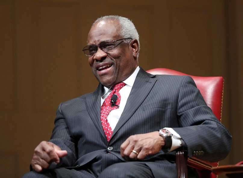 Associate Justice Clarence Thomas smiles during an event at the Library of Congress, Thursday, Feb. 15, 2018, in Washington. (AP Photo/Pablo Martinez Monsivais)