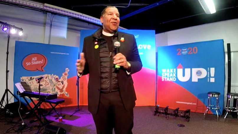 The Rev. Alvin Herring speaks during the Vote Common Good summit in Des Moines, Iowa, Friday, Jan. 10, 2020. Video screen via Vote Common Good