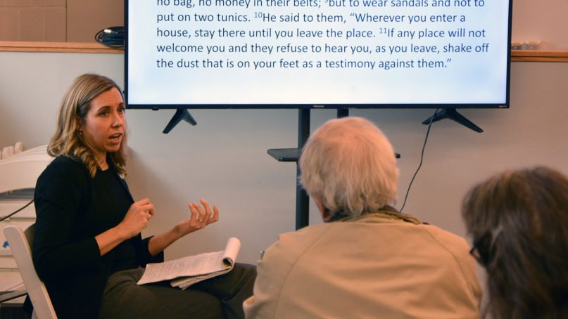 The Rev. Sarah Trone Garriott leads a workshop at the Common Good Forum on Jan. 11, 2020, in Des Moines, Iowa. RNS photo by Jack Jenkins