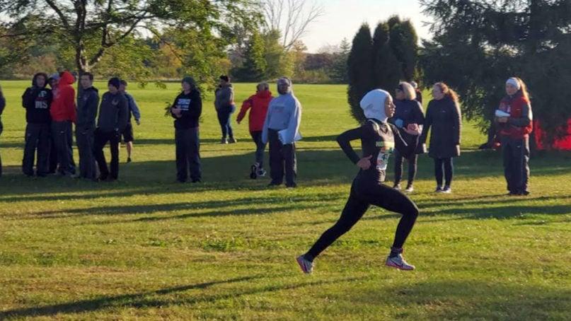 Noor Alexandria Abukaram participates in a race. Photo courtesy of LetNoorRun.com