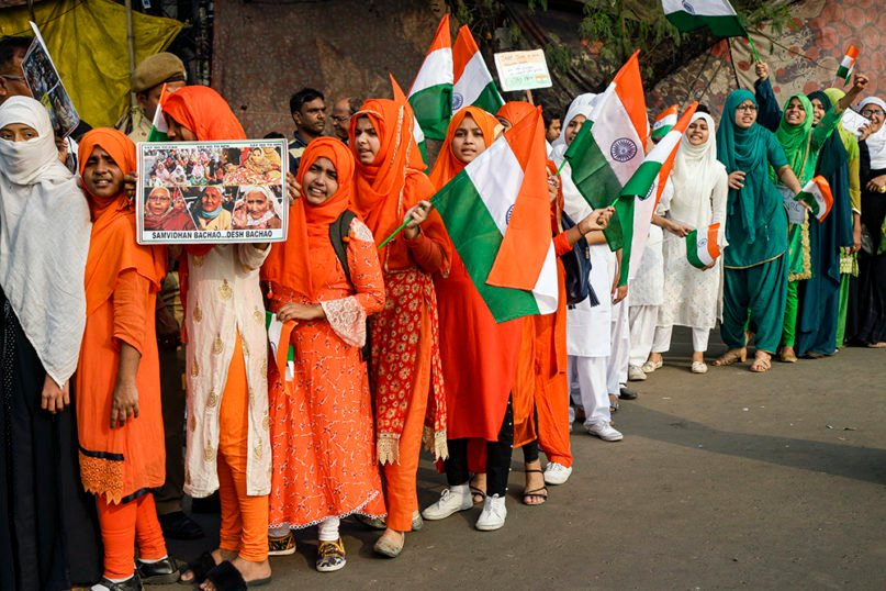 Indian women march in a rally protesting a new citizenship law that opponents say threatens India's secular identity, in Kolkata, India, Thursday, Jan. 16, 2020. Protests against India's citizenship law that excludes Muslim immigrants continue in Indian cities in an unabating strong show of dissent against the Hindu nationalist government of Prime Minister Narendra Modi. (AP Photo/Bikas Das)