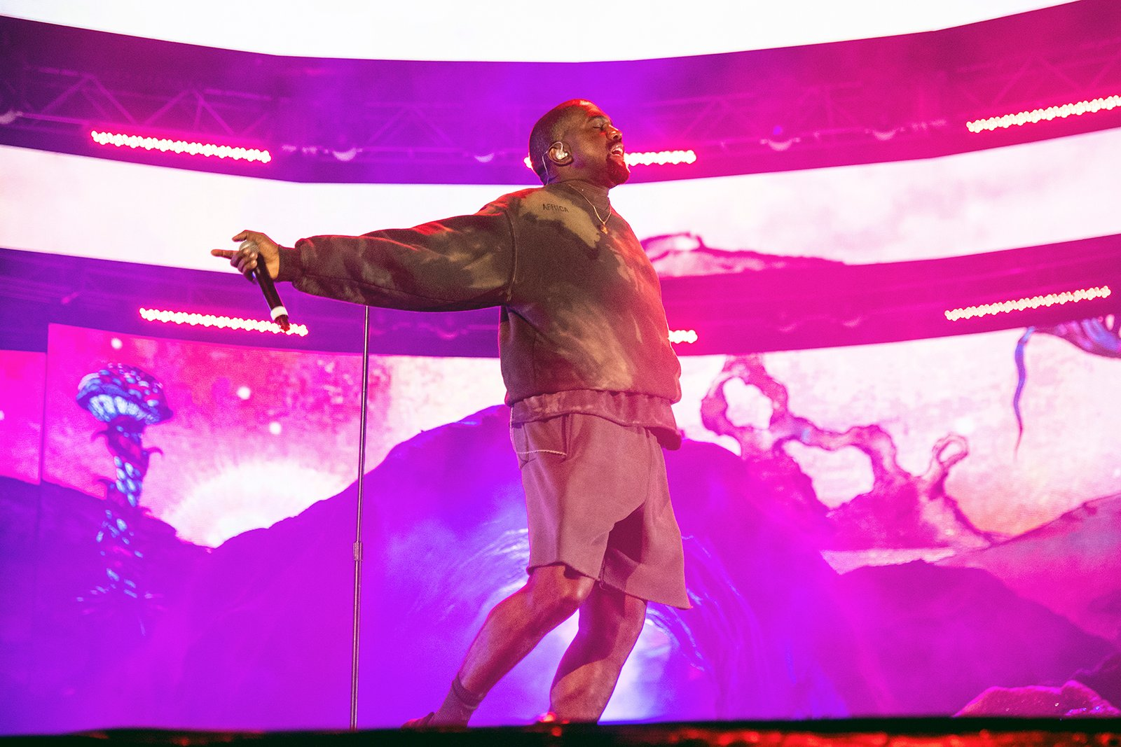 Kanye West performs with Kid Cudi at the Coachella Music and Arts Festival at the Empire Polo Club on April 20, 2019, in Indio, California. (Photo by Amy Harris/Invision/AP)