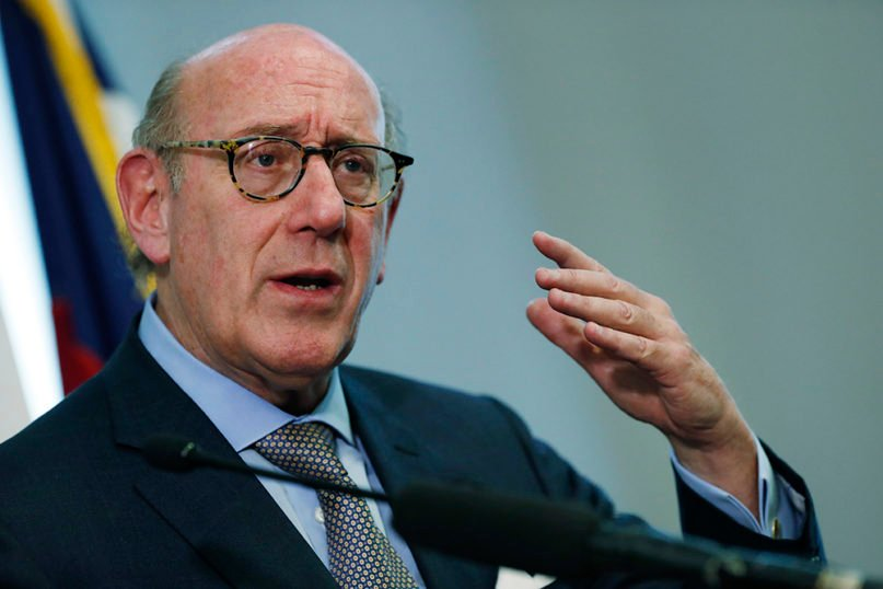 Attorney Kenneth Feinberg, who recently helped mediate a proposal to split the global United Methodist Church denomination, speaks during a news conference Monday, Oct. 7, 2019, in Denver.  (AP Photo/David Zalubowski)