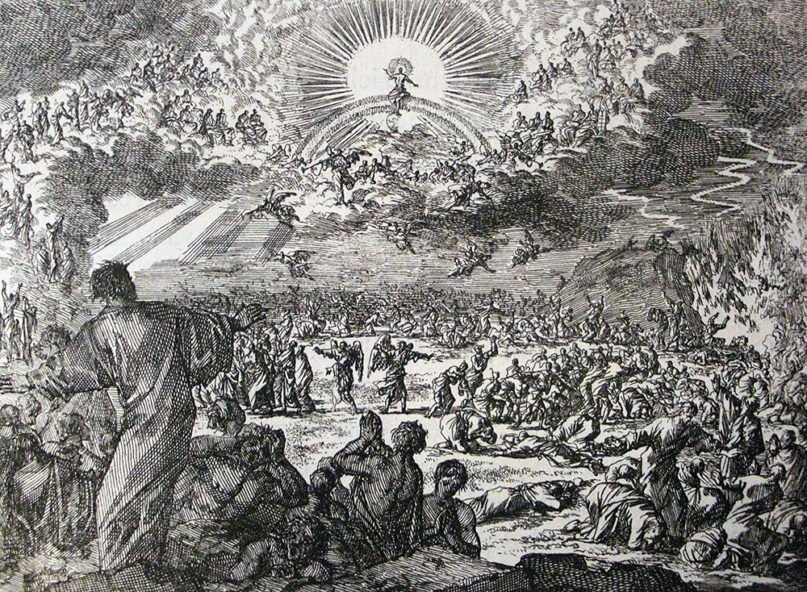 An etching by Jan Luyken of the Last Judgment, from the Phillip Medhurst Collection of Bible illustrations housed at Belgrave Hall, Leicester, England. Image courtesy of Creative Commons