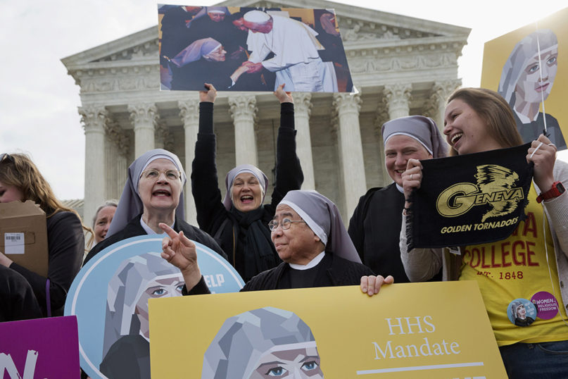 Nuns with the Little Sisters of the Poor rally outside the Supreme Court in Washington on March 23, 2016. (AP Photo/Jacquelyn Martin)