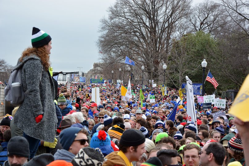 Attendees participate in the annual March for Life rally on the National Mall, Friday, Jan. 24, 2020, in Washington. RNS photo by Jack Jenkins