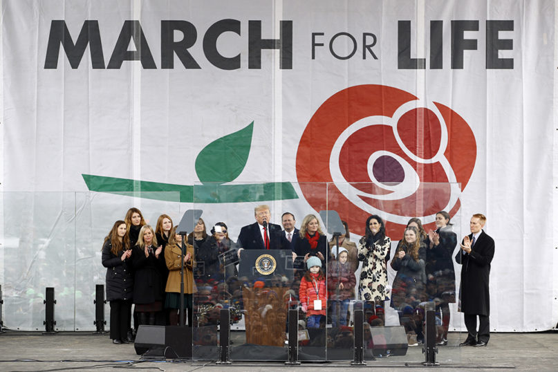 President Donald Trump speaks at the March for Life rally on Jan. 24, 2020, on the National Mall in Washington. (AP Photo/Patrick Semansky)