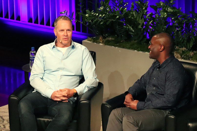 Crossroads Church pastors Brian Tome, left, and Chuck Mingo participate in a panel during the Faith, Race and Politics conference on Jan. 13, 2020 at the National Underground Railroad Freedom Center in Cincinnati, Ohio. RNS photo by Adelle M. Banks
