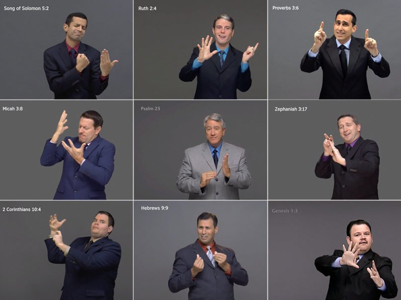 Stills from the complete Bible in American Sign Language videos, released by Jehovah's Witnesses. Images courtesy of Jehovah's Witnesses
