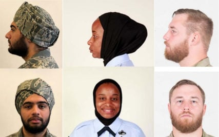Examples of waiver-approved religious apparel styles for turbans, from left, hijabs and beards in the U.S. Air Force. Photos courtesy of USAF